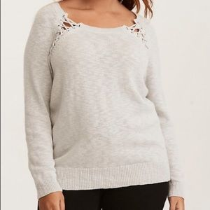 Torrid Gray Lace Up Yoke Pullover Sweater - 2X